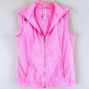 🔥 Lorna Jane Athletic Run Pink Vest Hood Mesh M